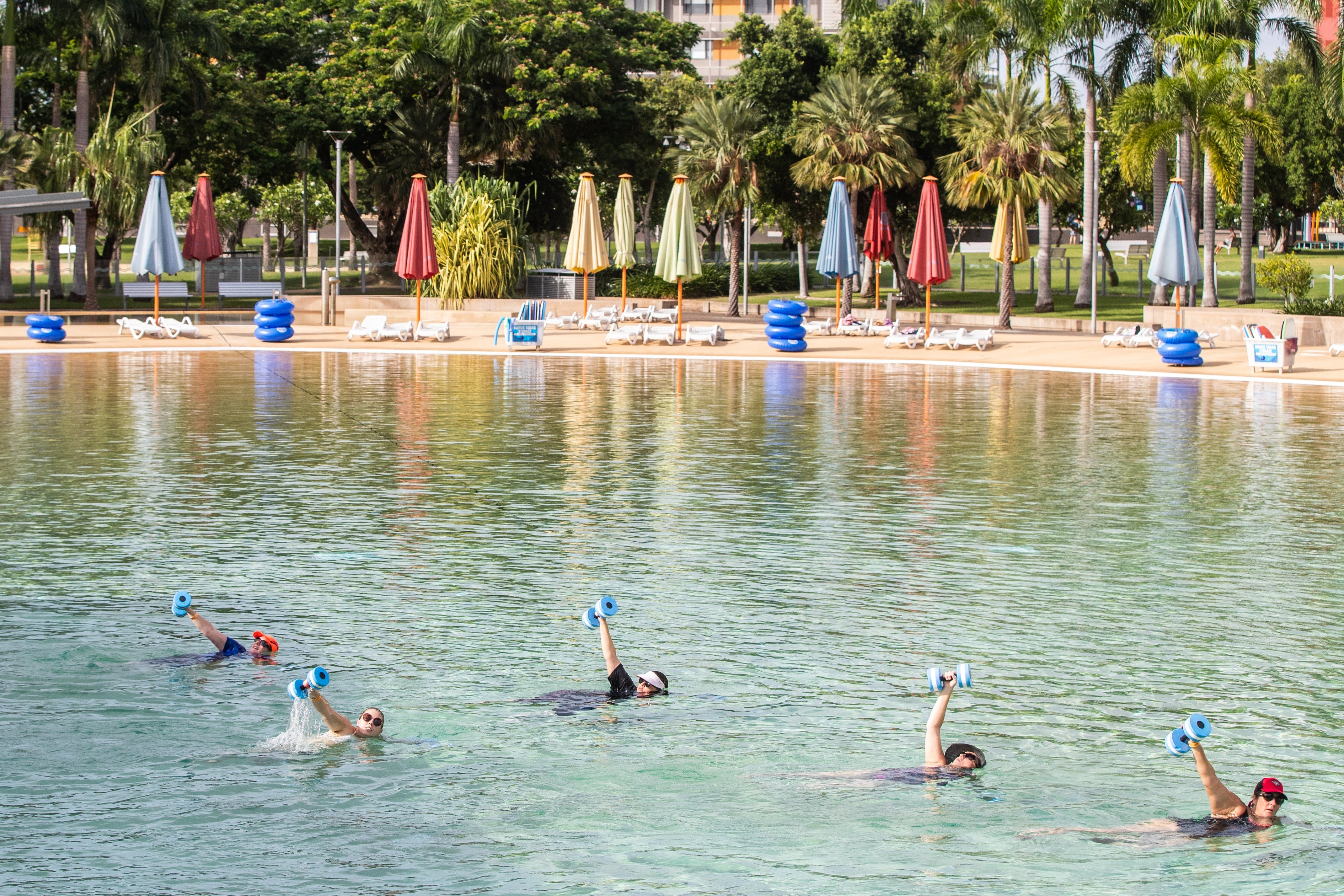 Aqua fitness in the Wave Lagoon - Accommodation Directory